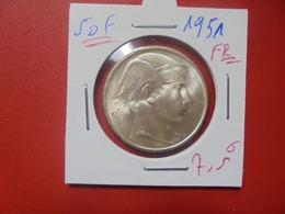 Régence :50 FRANCS 1951 FR BELLE QUALITE ARGENT (A.10) - 05. 50 Francs