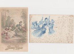 2 Jolies Cartes Dessinées /Jeunes Gens  Sur Une Balançoire - Ansichtskarten