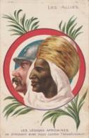 Z28- PATRIOTIQUE - LES ALLIES - LES LEGIONS AFRICAINES SE DRESSENT CONTRE L'ENVAHISSEUR - (2 SCANS) - Guerre 1914-18