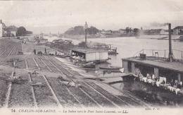 Cpa 74 CHALON SUR SAONE LA SAONE VERS LE PONT SAINT LAURENT 1923 - Chalon Sur Saone