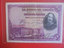 ESPAGNE 50 PESETAS 1928 CIRCULER (B.7) - [ 1] …-1931 : Eerste Biljeten (Banco De España)