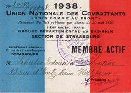 VP15.695 - MILITARIA - Carte De L'Union Nationale Des Combattants - Section De STRASBOURG - Mr SCHULER à HOLTZHEIM - Documents