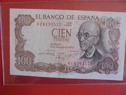ESPAGNE 100 PESETAS 1970 CIRCULER (B.7) - [ 3] 1936-1975 : Regime Di Franco