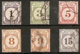 MALAYA - MALAYAN POSTAL UNION 1945 - 1949 POSTAGE DUE SET TO 15c SG D7/D12 FINE USED - Malayan Postal Union