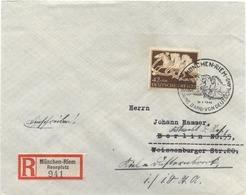 DR Mi-Nr 815  /braunes Band 1942,  Echt Gelaufener Porto-gerechter R-Brief - Cartas