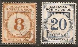 MALAYA - MALAYAN POSTAL UNION 1951 8c, 20c POSTAGE DUES SG D19, D21 FINE USED Cat £17.50 - Malayan Postal Union