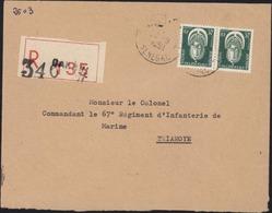 Lettre Recommandée Dakar 28 9 1959 Sénégal Avec Rare Timbres De Service YT 7 X2 Sur Lettre Arrivée Tiaroye Sénégal - Sénégal (1887-1944)