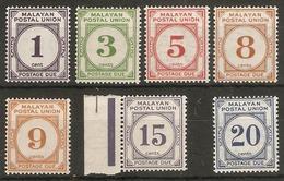 MALAYA - MALAYAN POSTAL UNION 1945 - 1949 POSTAGE DUE SET SG D7/D13 UNMOUNTED MINT/LIGHTLY MOUNTED MINT Cat £170 - Malayan Postal Union