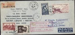 25e Anniversaire 1ère Liaison Postale Aérienne St Louis Natal Jean Mermoz 12 Mai 1930 Avion CAD St Louis Sénégal 12 5 55 - Senegal (1887-1944)