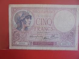 FRANCE 5 FRANCS 20-7-1939 CIRCULER (B.7) - 1871-1952 Antichi Franchi Circolanti Nel XX Secolo