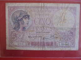 FRANCE 5 FRANCS 27-7-1939 CIRCULER (B.7) - 1871-1952 Antiguos Francos Circulantes En El XX Siglo