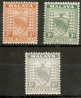 MALAYA - NEGRI SEMBILAN 1941 2c, 3c And 6c  SG 23, 24a, 28 MOUNTED MINT Cat £17 - Negri Sembilan