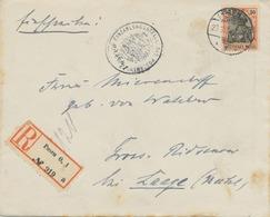 """DEUTSCHES REICH 1914 Germania 30 (Pf) Als Selt. EF A. R-Brief (mit Original-Inhalt) Aus """"POSEN O. / 1"""" - ....-1919 Provisional Government"""