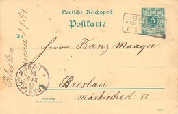 """DEUTSCHES REICH """"BRIEG * KREIS GLOGAU * 1.5.94"""" Selt. RA3 A. 5 Pfg. Krone-GA Nach """"BRESLAU 5"""" K1. Brzeg, (deutsch Brieg) - ....-1919 Provisional Government"""