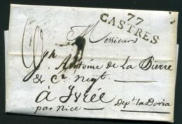 LETTRE  DE CASTRES  DU  4 OCTOBRE   1809  A  DESTINATION  DE  IVREE ITALIE - 1801-1848: Précurseurs XIX