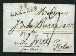 LETTRE  DE CASTRES  DU  6  OCTOBRE  1811  A  DESTINATION  DE  IVREE ITALIE - 1801-1848: Précurseurs XIX