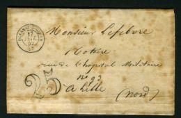 LETTRE  DU  17  FEVRIER  1852  A  DESTINATION  DE  LILLE - Postmark Collection (Covers)