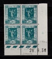 ERREUR - Coin Daté Mauvais Mois - YV 333 N** Luxe Du 26.9.36 Au Lieu De 26.8.36 - Angoli Datati