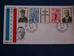 ENVELOPPE 1è  Jour  Hommage  Au  Gén .de GAULLE  //  09/11/ 1971  --  ST Denis De La Réunion - Autres