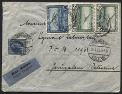 AFFR MIXTE LUXEMBOURG / AVION BELGIQUE - 1.75fr Obl. LUXEMBOURG S/L Avion Vers Jérusalem 1938. Bonne Destination!! - Covers & Documents