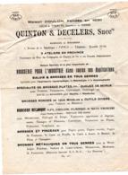 Paris / Béthisy St Pierre / Gillocourt /Enencoirt : Catalogue QUNTON & DECELERS  Brosserie 192.. (PPP20198) - Advertising