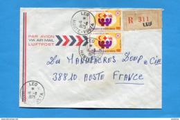 MARCOPHILIE-lettre-REC-haute Volta->Françe-cad LEO-1975 -2-stamps N°267 Croix Rouge 1972 - Haute-Volta (1958-1984)