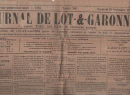 JOURNAL DE LOT ET GARONNE 28 09 1883 - CORSE SEPARATISTES - ZEMMANGE - SARZEAU - TONKIN - VILLENEUVE DE DURAS - PRUNES - Journaux - Quotidiens