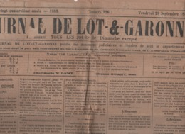 JOURNAL DE LOT ET GARONNE 28 09 1883 - CORSE SEPARATISTES - ZEMMANGE - SARZEAU - TONKIN - VILLENEUVE DE DURAS - PRUNES - Zeitungen