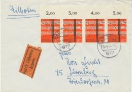 BRD 1962, Lied Und Chor 20 Pf (4er-Streifen) Selt. MeF Auf Portogerechte Pra.-Eil-Brief Von BAD TÖLZ Nach NÜRNBERG - [7] Repubblica Federale