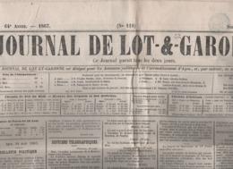 JOURNAL DE LOT ET GARONNE 24 08 1867 - SALZBOURG - CRETE - ESPAGNE CATALOGNE - PONTS - PRAYSSAS - AGEN - CASTELJALOUX - - Zeitungen