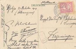 Nederlands Indië - 1919 - 5 Cent Cijfer Op Ansicht Van Treinstempel KB SOERABAJA-BANDOENG B Naar Wageningen / Nederland - Niederländisch-Indien