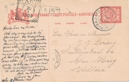 Nederlands Indië - 1909 - 5 Cent Cijfer, Briefkaart Van Treinstempel GR SOERABAJA-MAOS B Naar Den Haag / Nederland - Niederländisch-Indien
