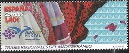 SPAIN, 2019, MNH, EUROMED, COSTUMES OF THE MEDITERRANEAN, 1v - Kostums