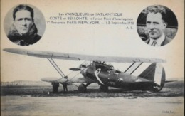 """CPA. - > Aviation > 1919-1938: Entre Guerres > COSTE Et BELLONTE 1iére Trav. PARIS-NEW-YORK Les 1-2.9.1930 Avec Le """"?"""" - 1919-1938"""
