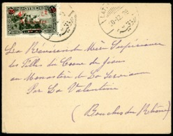 """1929 ALAOUITES N°43 Surcharge Rouge + C-à-d """"LATAQUIE 30/12/29"""" Sur Env. Adressée Au Monastère De La Serviane, - Alaouite (1923-1930)"""