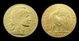 COPIE - 1 Pièce Plaquée OR Sous Capsule ! ( GOLD Plated Coin ) - France - 20 Francs Marianne Coq 1908 - France