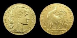 COPIE - 1 Pièce Plaquée OR Sous Capsule ! ( GOLD Plated Coin ) - France - 20 Francs Marianne Coq 1912 - France