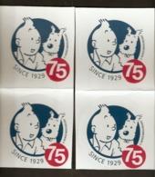 HERGE - Lot De 4 Autocollants TINTIN Et MILOU - 75ème Anniversaire - Hergé