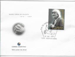ARGENTINA 1997 FDC MADRE TERESA DE CALCUTA 1910 - 1997 RELIGION PEACE FIRST DAY COVER - Nuovi