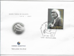 ARGENTINA 1997 FDC MADRE TERESA DE CALCUTA 1910 - 1997 RELIGION PEACE FIRST DAY COVER - Argentina