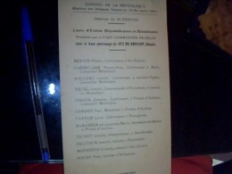 Vieux Papier  Politique Conseil De La République Election Canton St Geniest Union Républicain & Resistant  G De Boysson - Documentos Antiguos