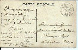 Carte En Franchise - Adressée à Maurice GEOFFRIN - Sergent - 25/08/1914 - Archive De FLORNOY Par WASSY - Wassy