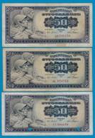 Jugoslawien - Yugoslavia 3 Stück á50 Dinara Banknote 1965 F (4) Pick 79  (18306 - Jugoslavia