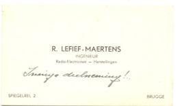 Visitekaartje - Carte Visite - Ingenieur Radio Electriciteit - R. Lefief - Maertens - Brugge - Cartoncini Da Visita