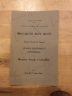 Séance Solennelle D'hommage à M. Joseph Calozet Juin 1965 Théâtre Royal De Namur Comité Central De Wallonie - Programas