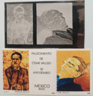 L) 1988 MEXICO, DEATH OF CESAR VALLERO 50 ANNIVERSARY, PEOPLE, ARNOLD BELKIN, PRINTING PLATE - Mexico