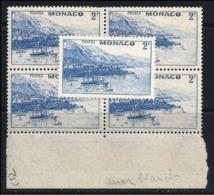 MONACO - 1941 /43 - Varietè = Mer Blanche - N. 257 ** Quartina - Cat. ? € - Lotto 301 - Variétés