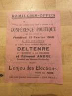 Invitation Conférence Politique Février 1946 Au Café Veuve Koekelbergh Par Deltenre Et Edmond André Enjeu Des élections - Documentos Históricos