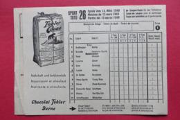 Coupon De Participation SPORT-TOTO, TOBLER CACAO CHOCOLAT, 1949 - Pubblicitari