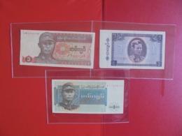 BURMA-MYANMAR LOT DE 3 BILLETS (B.7) - Munten & Bankbiljetten